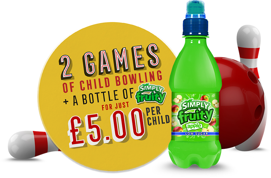 2 games of child bowling and a bottle of simply fruity for £5 per child
